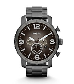 Fossil® Men's Nate Smoke Bracelet and Gunmetal Dial Watch