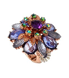 Betsey Johnson® Rose Goldtone Mixed Faceted Beaded Flower Stretch Ring