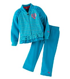 PUMA® Girls' 2T-6X Striped Block Tricot Set