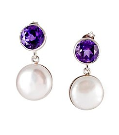 Sterling Silver Freshwater Pearl & Amethyst Earrings