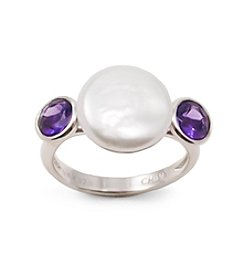 Sterling Silver Freshwater Pearl Ring with Amethyst