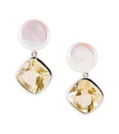 Sterling Silver Freshwater Coin Pearl & Bezel Set Lemon Quartz Earrings