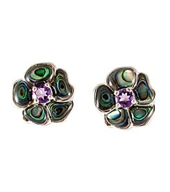 Sterling Silver Amethyst & Abalone Earrings
