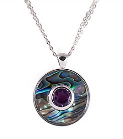 Sterling Silver Abalone & Amethyst Circle Pendant Necklace