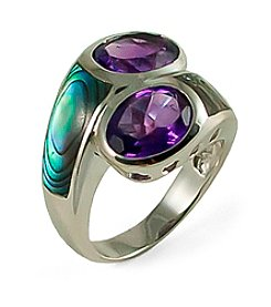 Sterling Silver Amethyst & Abalone Ring