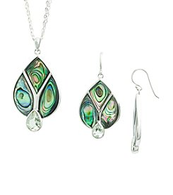 Sterling Silver Green Amethyst & Abalone Pendant Necklace