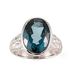 Sterling Silver London Blue Topaz Oval Textured Ring