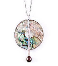 Sterling Silver Abalone with Linear Black Freshwater Pearl Drop Pendant Necklace