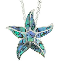 Sterling Silver Abalone Mosaic Star Pendant Necklace