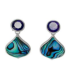 Sterling Silver Abalone & Amethyst Drop Earrings