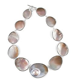 Sterling Silver Mother Of Pearl & Mabe Pearl Freeform Necklace