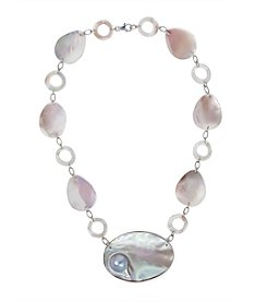 Sterling Silver Mother Of Pearl & Mabe Pearl Necklace