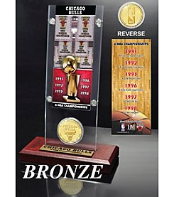 Chicago Bulls 6-Time NBA Champions Ticket and Bronze Coin Desk Top Acrylic