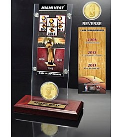 Miami Heat 3-Time NBA Champions Ticket and Bronze Coin Desk Top Acrylic