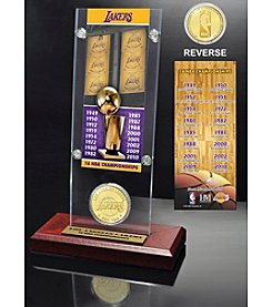 Los Angeles Lakers 16-Time NBA Champions Ticket and Bronze Coin Desk Top Acrylic