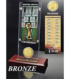 NBA® Boston Celtics 17-Time NBA Champions Ticket and Bronze Coin Desktop Acrylic