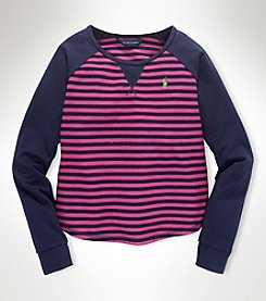 Ralph Lauren Childrenswear Girls' 7-16 Multi-Stripe Terry Raglan