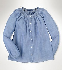 Ralph Lauren Childrenswear Girls' 7-16 Long Sleeve Gauze Shirt
