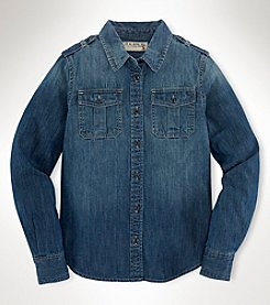 Ralph Lauren Childrenswear Girls' 7-16 Kai Wash Denim Shirt