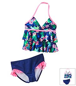 Little Miss Attitude Girls' 4-6X 2-Piece Printed Tankini