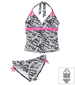 Mambo® Girls' 7-16 2-Piece Zebra Print Tankini Swim Set