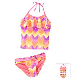 Mambo® Girls' 7-16 2-Piece Chevron Tankini Swim Set