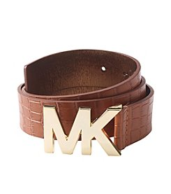 MICHAEL Michael Kors® Croc Embossed Leather Logo Plaque Belt