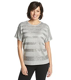 Alfred Dunner® High Tea Sequin Solid Stripe Sweater