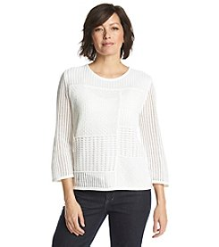 Alfred Dunner® Bon Voyage Solid Crochet Sweater