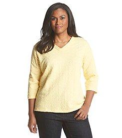 Breckenridge® Plus Size Radiant Energy Textured V-Neck Knit Tee