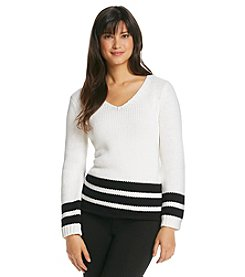 Jones New York Signature® Chunky V-Neck Sweater