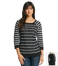Jones New York Sport® Stripe Pullover Sweater