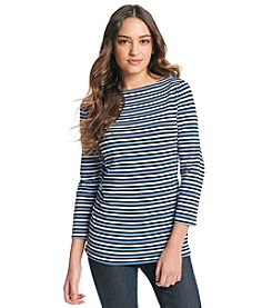 Jones New York Sport® Stripe Boatneck Knit Top