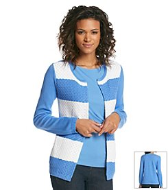 Jones New York Signature® Open Front Stripe Cardigan
