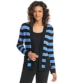 Jones New York Collection® Stripe Long Sleeve Cardigan