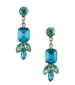 BT-Jeweled Blue/Green Post Top Earrings with Drop