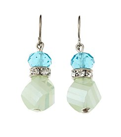 BT-Jeweled Blue/Green Two Bead Drop Earrings