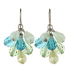 BT-Jeweled Blue/Green Faceted Pear Cluster Earrings