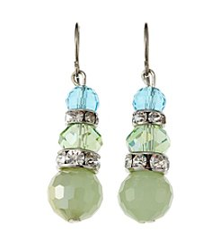 BT-Jeweled Blue/Green Faceted Snowman Drop Earrings