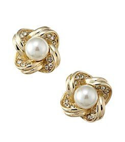 Napier® Button Clip Earrings with Pearl Bead