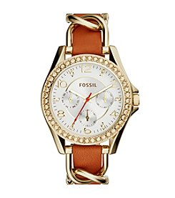 Fossil® Women's Riley Leather and Accent Dial Watch