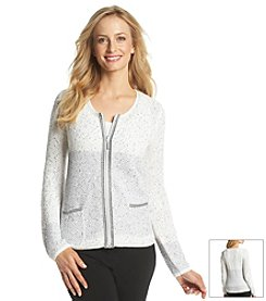 Laura Ashley® Sequin Bi Color Sweater Jacket