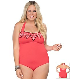 Becca® Plus Size Heritage Embroidered One Piece Swimsuit