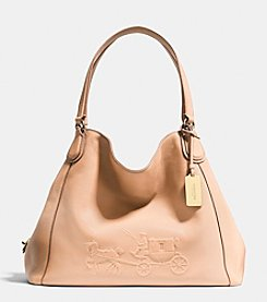 COACH EMBOSSED HORSE AND CARRIAGE EDIE SHOULDER BAG IN PEBBLED LEATHER