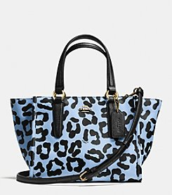 COACH CROSBY MINI CARRYALL IN OCELOT PRINT CROSSGRAIN LEATHER