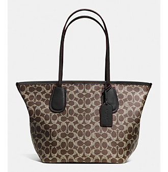 ... Saddle Brown Black Large Zip Top Tote UPC 888067645866 product image  for COACH TAXI ZIP TOP TOTE IN SIGNATURE CANVAS  58e4cc02a78d0