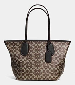 COACH TAXI ZIP TOP TOTE IN SIGNATURE CANVAS