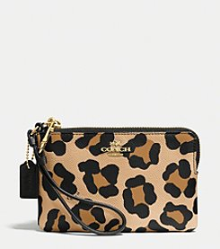 COACH CORNER ZIP WRISTLET IN OCELOT PRINT CROSSGRAIN LEATHER