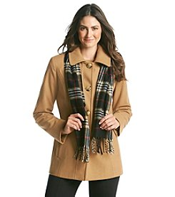 London Fog® Raglan Sleeve Coat with Scarf
