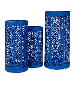 Home Essentials Blue Punched Metal Hurricane